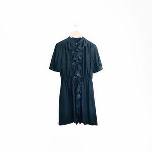 Amanda Uprichard Silk Ruffled Shirt Dress
